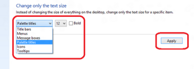 change text size in windows 8 PC