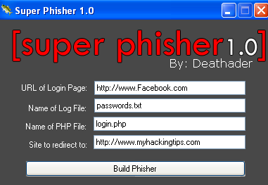 Hack Facebook AOL Paypal Accounts Using Super Phisher 2012